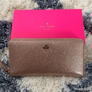 Kate Spade rose gold sparkly wallet